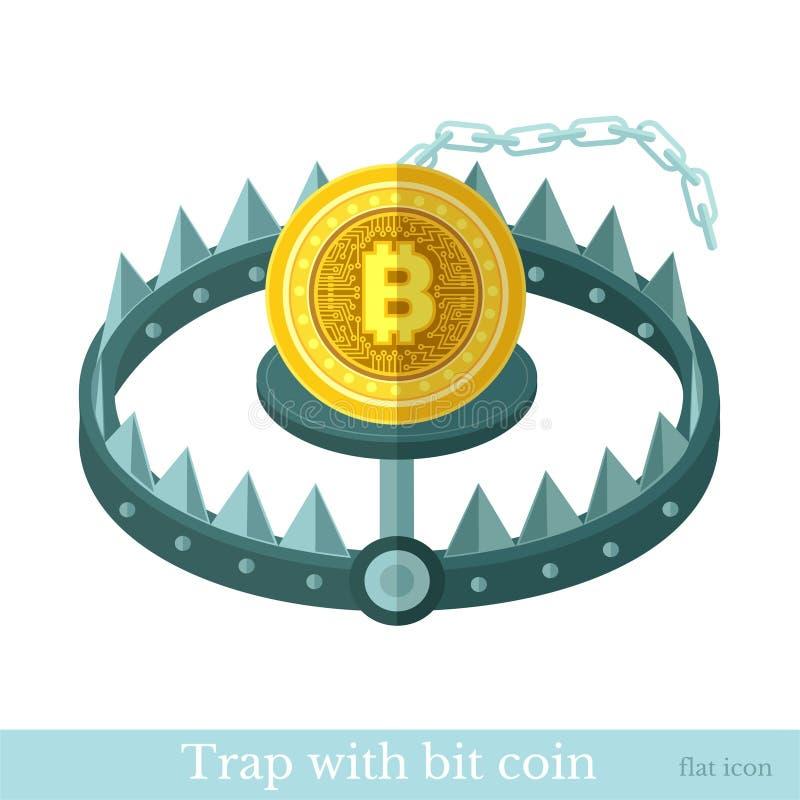 El icono plano con la moneda mordida pone en la trampa El ejemplo minero del negocio de la moneda del pedazo aisló stock de ilustración