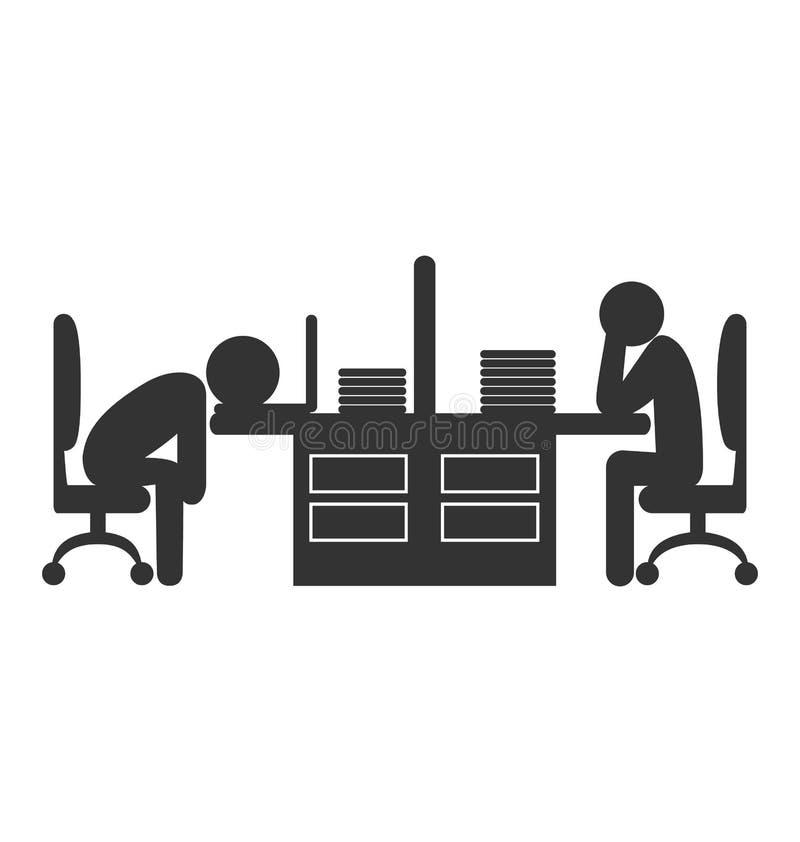 El icono plano de la oficina con se esfuma a los trabajadores aislados en blanco stock de ilustración