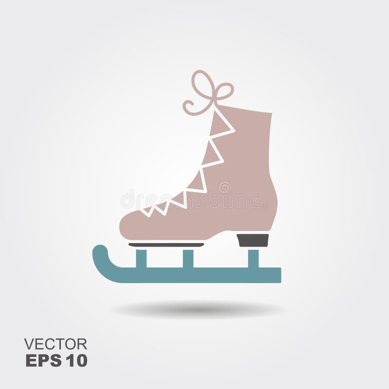 El icono plano de los patines Figura símbolo de los patines ilustración del vector