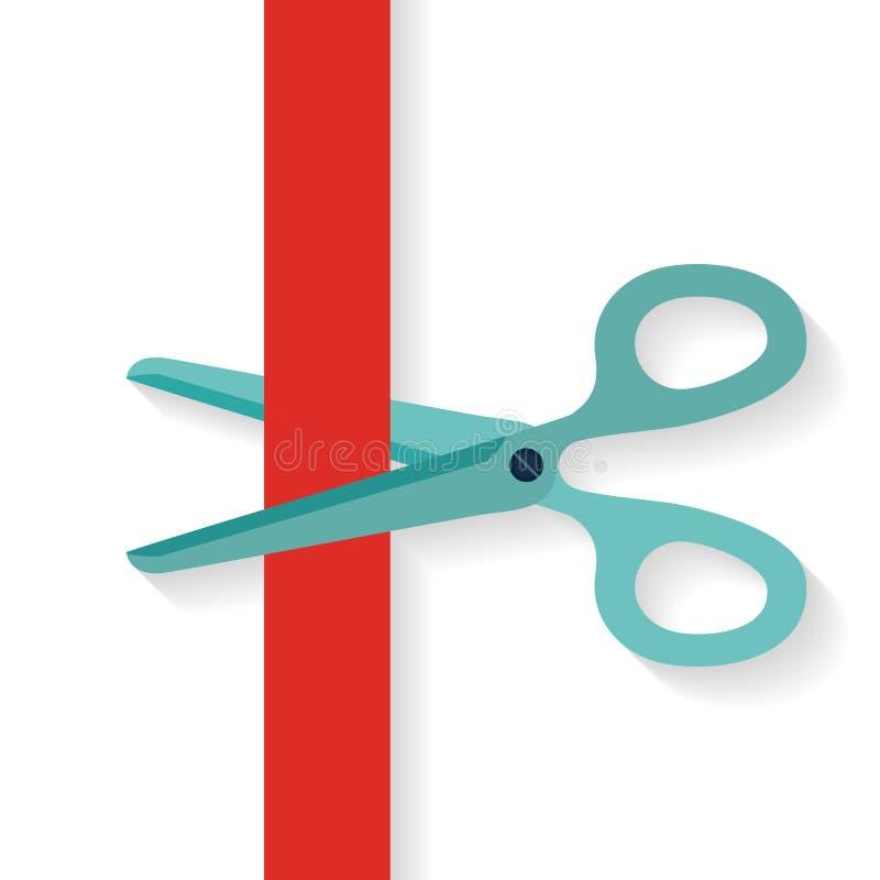 El icono plano del diseño scissors cortar la cinta vertical roja ilustración del vector