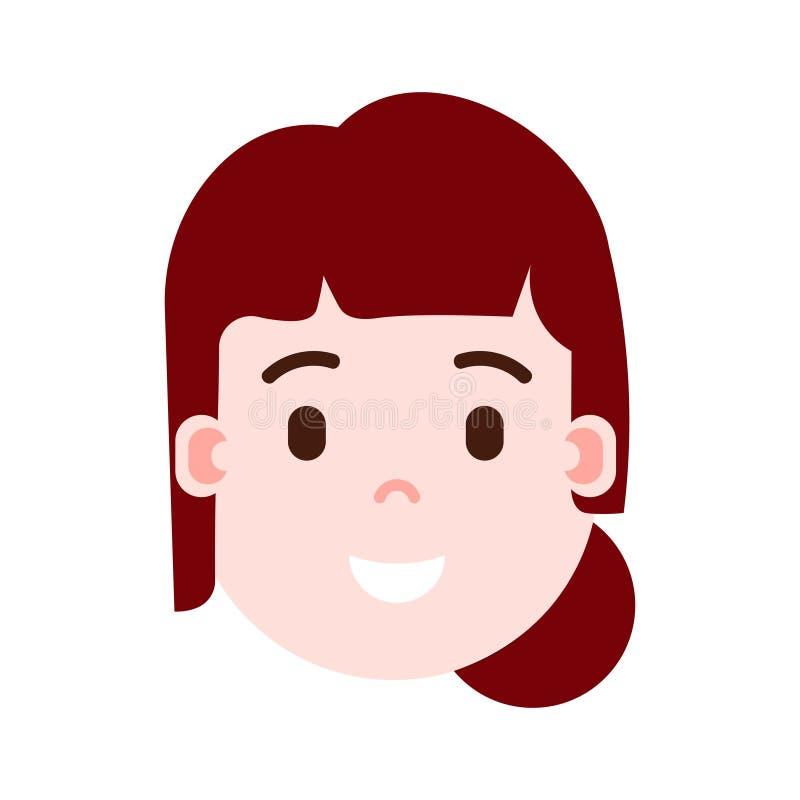 El icono principal con emociones faciales, carácter del avatar, mujer del personaje del emoji de la muchacha satisfizo la cara co ilustración del vector