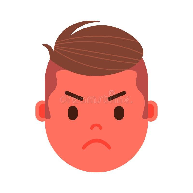 El icono principal con emociones faciales, carácter del personaje del emoji del muchacho del avatar, sirve la cara enojada con di ilustración del vector
