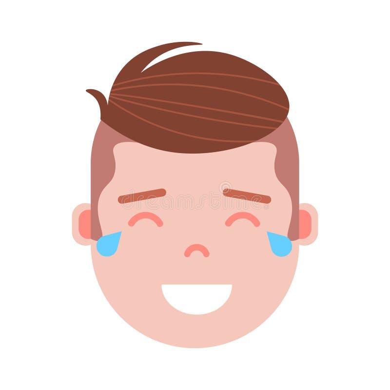 El icono principal con emociones faciales, carácter del personaje del emoji del muchacho del avatar, sirve la cara gritadora feli libre illustration