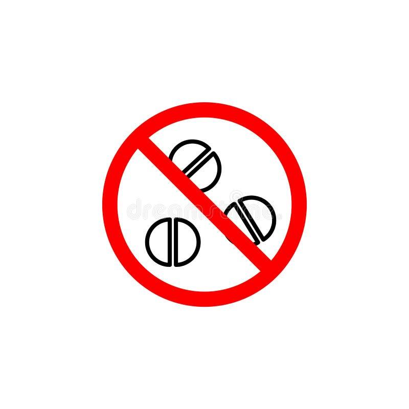 El icono prohibido de las píldoras en el fondo blanco se puede utilizar para la web, logotipo, app móvil, UI UX ilustración del vector
