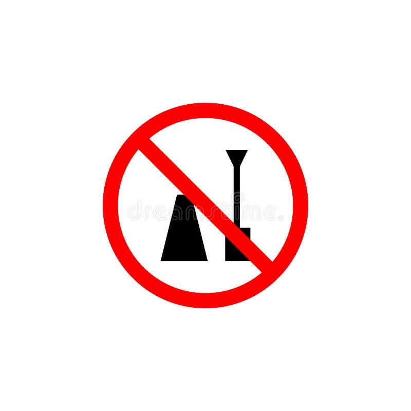 El icono prohibido del esmalte de uñas en el fondo blanco se puede utilizar para la web, logotipo, app móvil, UI UX stock de ilustración