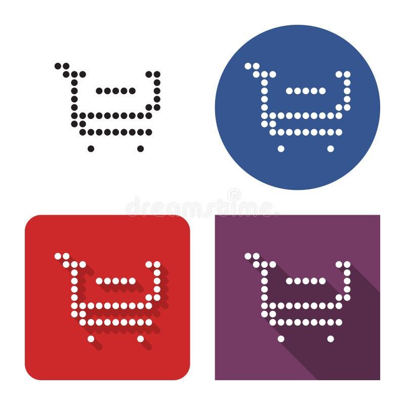 El icono punteado de la carretilla que hace compras con el signo de menos quita del carro en cuatro variantes ilustración del vector