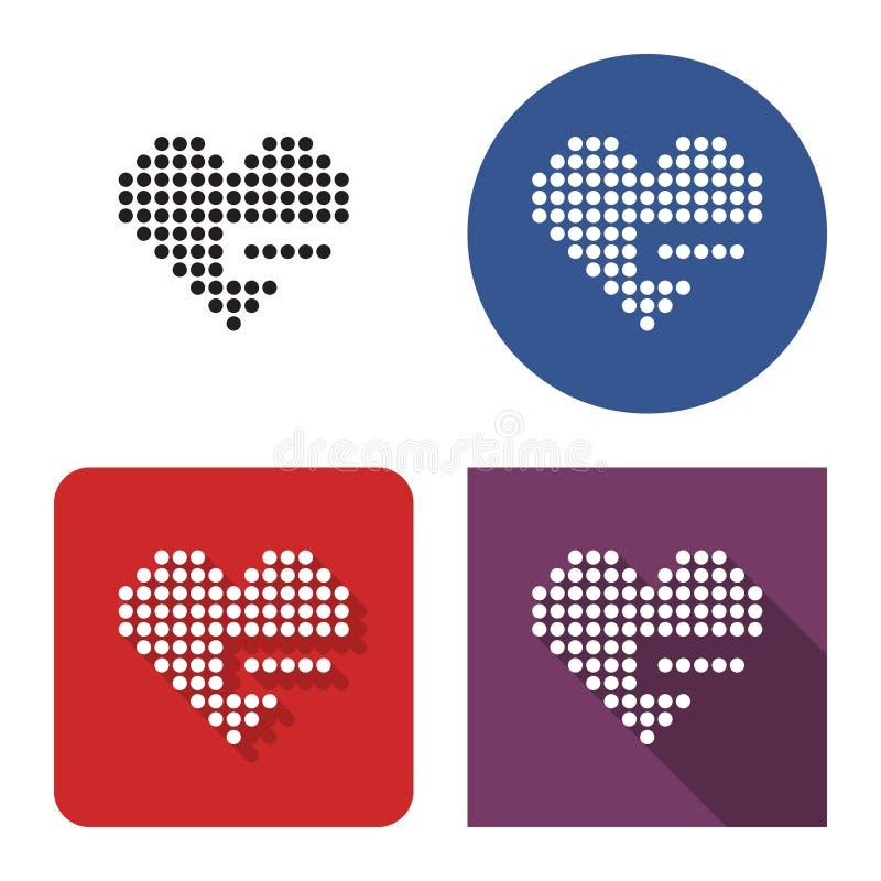 El icono punteado del corazón con el signo de menos quita de favoritos en cuatro variantes ilustración del vector