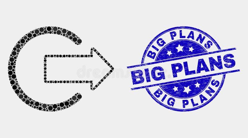 El icono punteado vector de la salida del sistema y los planes grandes rasguñados sellan libre illustration