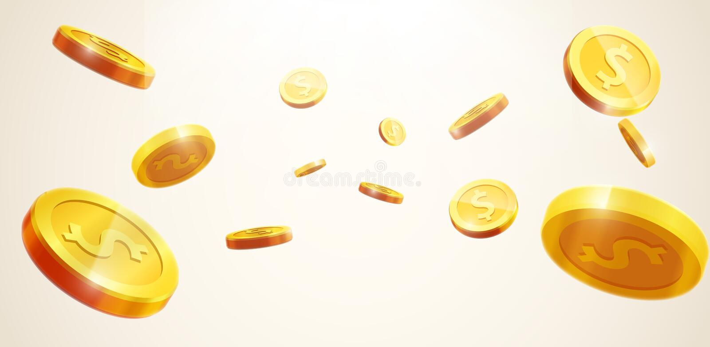 El icono realista de la moneda del vector 3d de las monedas de oro que cae con las sombras es stock de ilustración