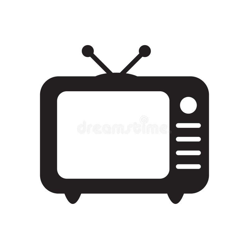 El icono retro en estilo plano, icono retro blanco y negro de la TV, ejemplo de la TV del vector del icono retro de la TV para us libre illustration