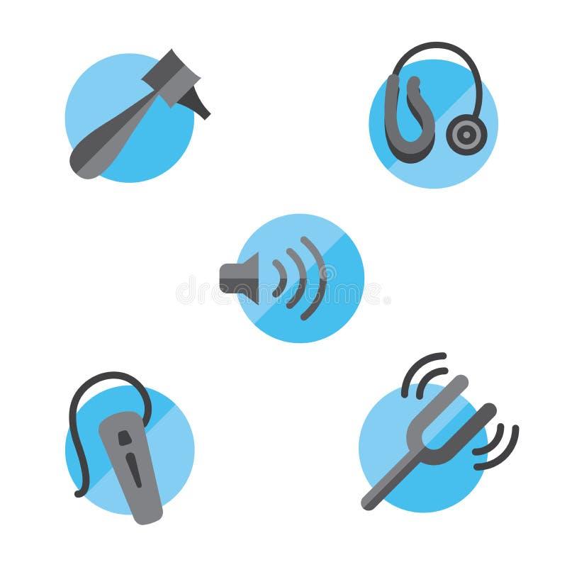 El icono sólido de la pérdida de oído fijó con el otoscopio, el diapasón y el heari libre illustration