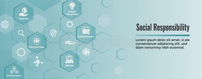 El icono sólido de la responsabilidad social fijó - la honradez, integridad, colla ilustración del vector