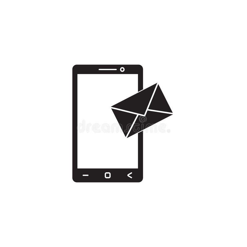 El icono sólido del correo móvil, SMS firma, mensaje stock de ilustración