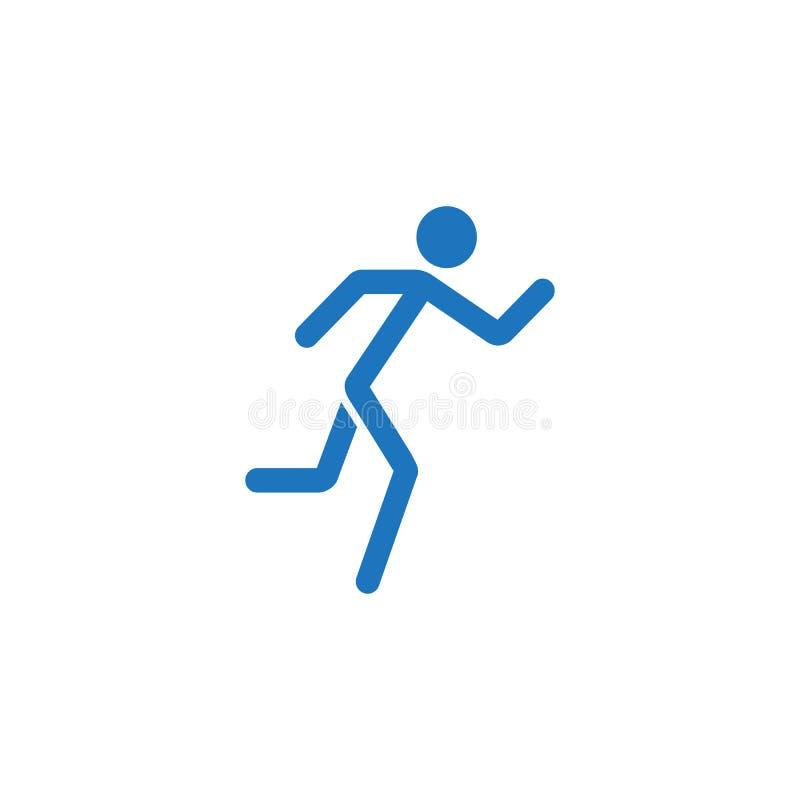 El icono sólido del hombre corriente, ayunan y el deporte de la aptitud ilustración del vector
