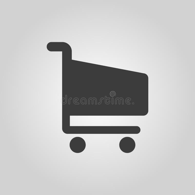 El icono shoping del carro Símbolo del carro de la tienda plano stock de ilustración