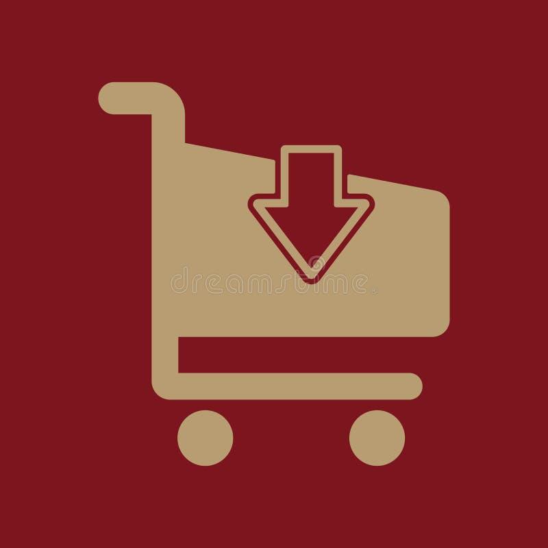 El icono shoping del carro Símbolo del carro de la tienda plano ilustración del vector