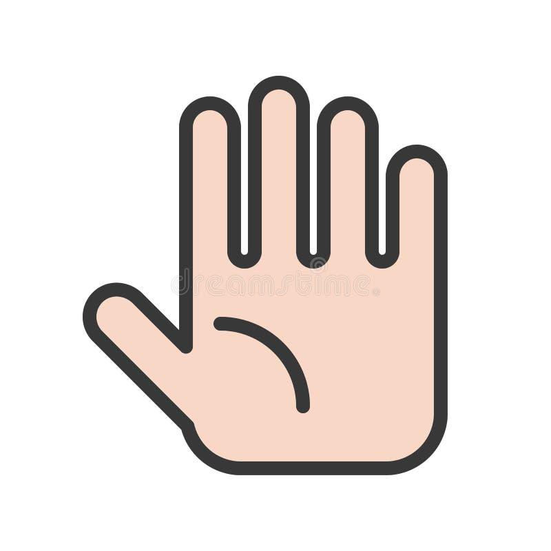 El icono simple de la mano, llenó el sistema del órgano del esquema ilustración del vector