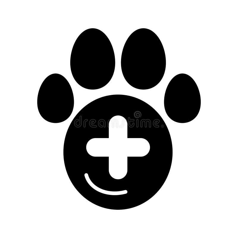 El icono simple del vector de la pata y del signo más del animal doméstico Ejemplo blanco y negro del hospital veterinario Icono  ilustración del vector