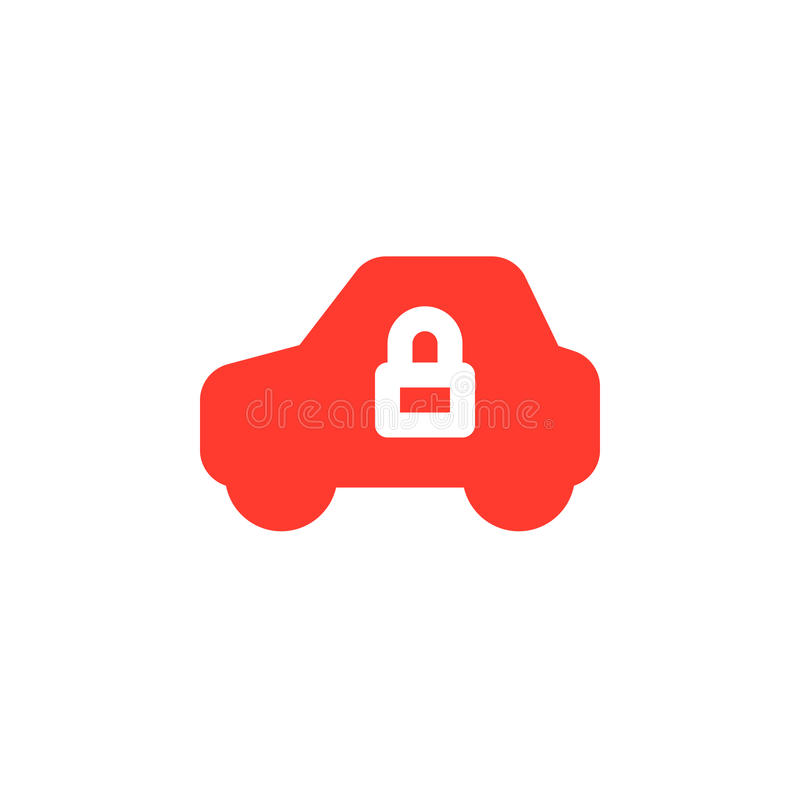 El icono simple del vehículo y de la cerradura vector, muestra plana llenada, pictograma colorido sólido aislado en blanco stock de ilustración