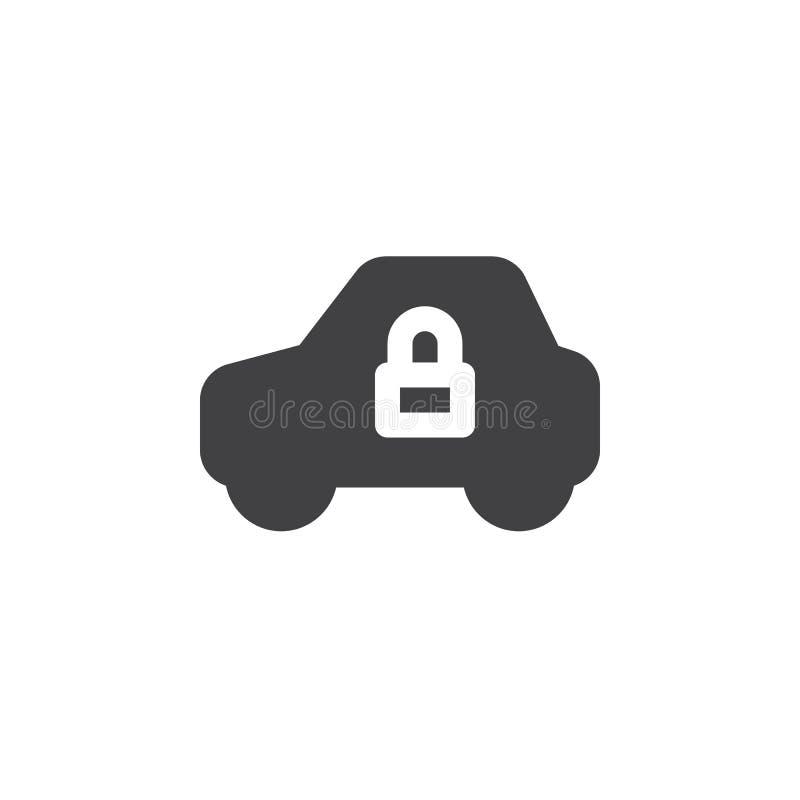 El icono simple del vehículo y de la cerradura vector, muestra plana llenada, pictograma sólido aislado en blanco libre illustration
