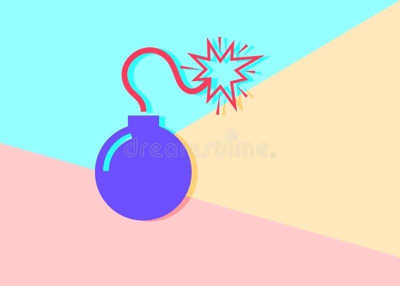 el icono violeta m?nimo moderno plano de la bomba con la sombra en pastel azul y rosado colore? el fondo stock de ilustración