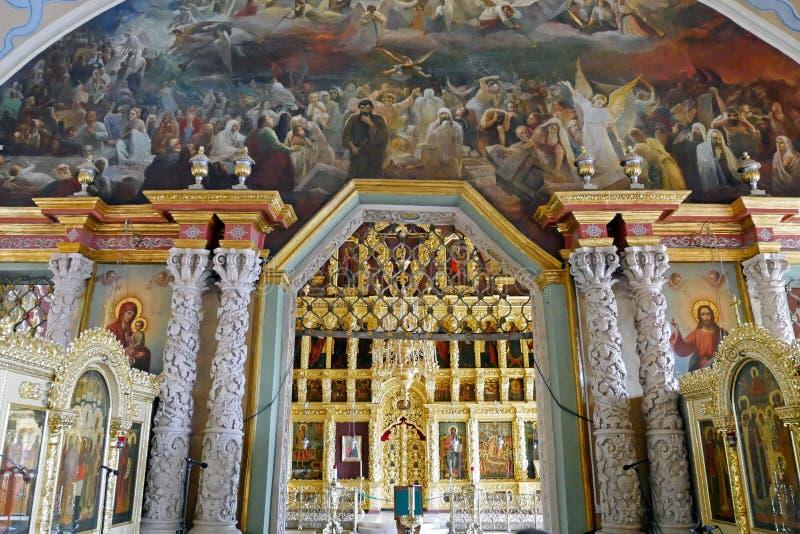 El iconostasio dentro de la iglesia de St Sergius, trinidad-Sergius Lavra, Sergiev Posad imagenes de archivo