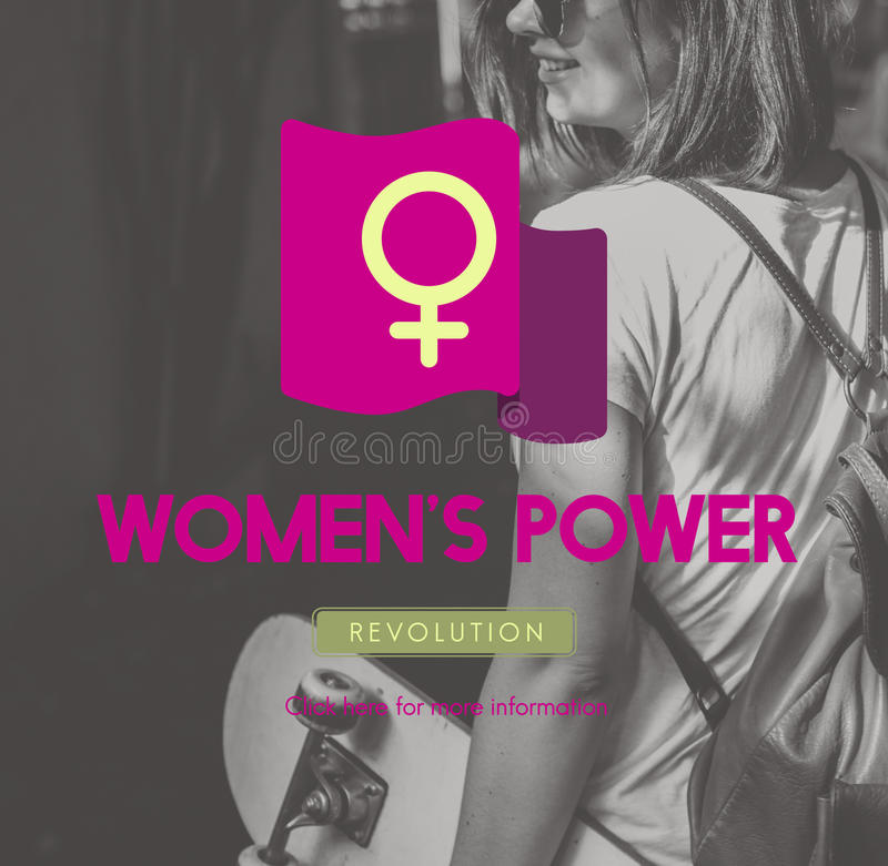 El igual de la feminista del poder de la mujer endereza concepto fotos de archivo libres de regalías
