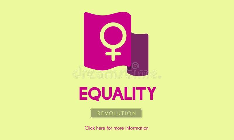 El igual de la feminista del poder de la mujer endereza concepto stock de ilustración