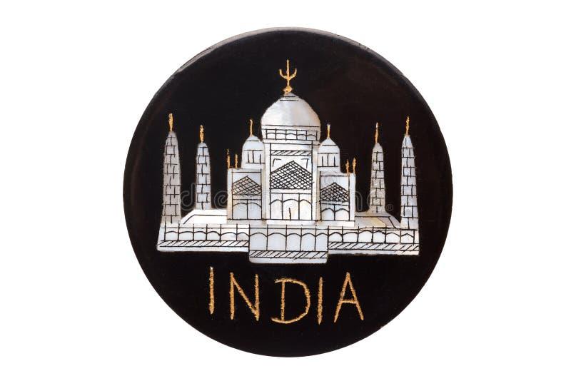 El imán famoso del refrigerador de la señal de Taj Mahal Temple de la India aisló en blanco imagenes de archivo