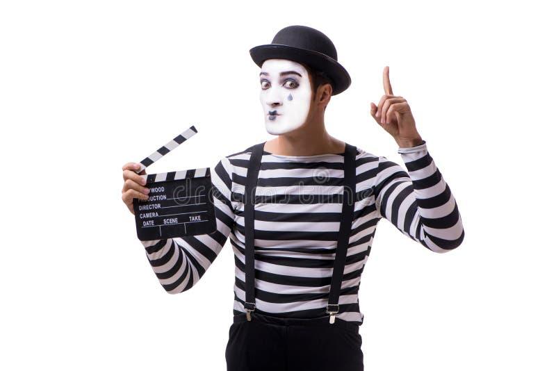 El imitar con el clapperboard de la película aislado en blanco fotografía de archivo libre de regalías