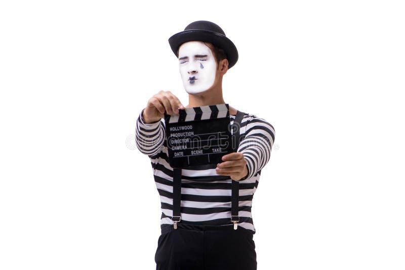 El imitar con el clapperboard de la película aislado en blanco imágenes de archivo libres de regalías