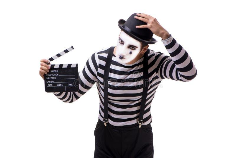 El imitar con el clapperboard de la película aislado en blanco imagen de archivo