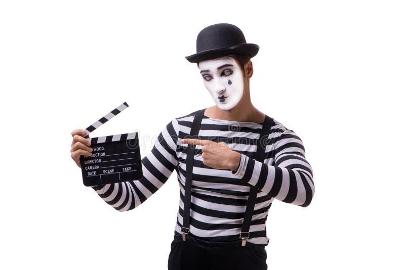 El imitar con el clapperboard de la película aislado en blanco imagenes de archivo