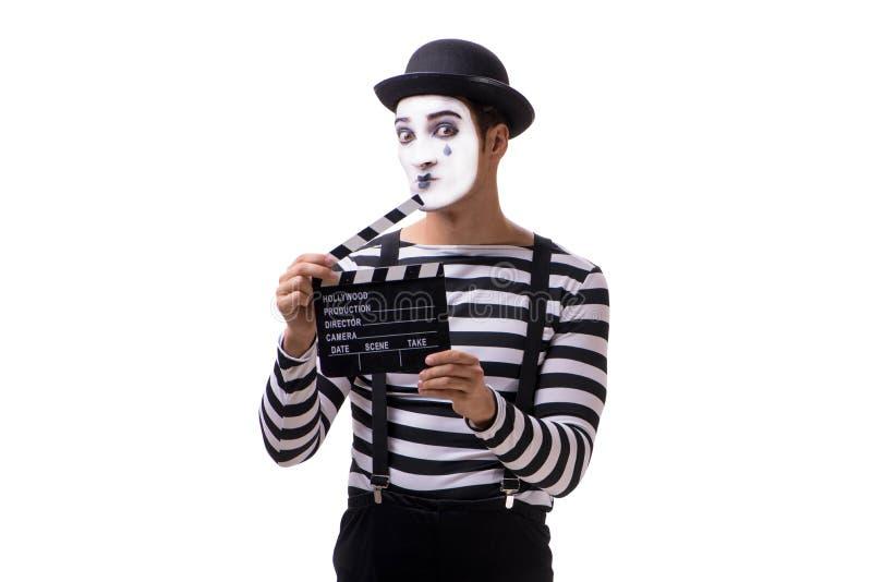 El imitar con el clapperboard de la película aislado en blanco fotos de archivo