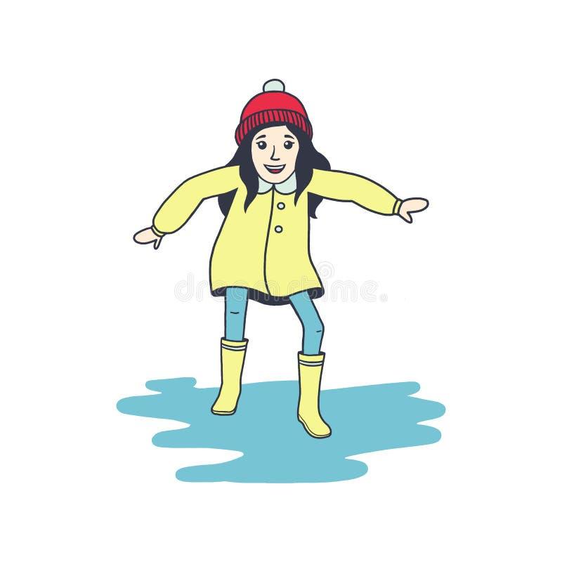 El impermeable de la niña n y las botas de goma está saltando en charco En estilo de la historieta Aislado en el fondo blanco Ni? fotos de archivo libres de regalías