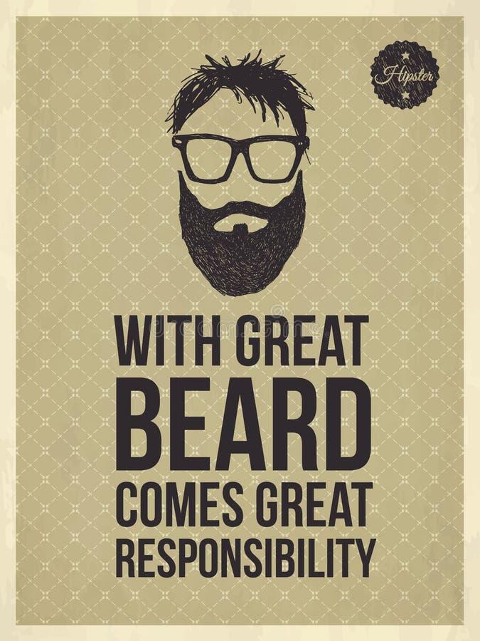 El inconformista cita - con la gran barba viene la gran responsabilidad stock de ilustración