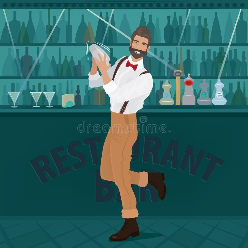 El inconformista del camarero de la diversión sacude la coctelera stock de ilustración