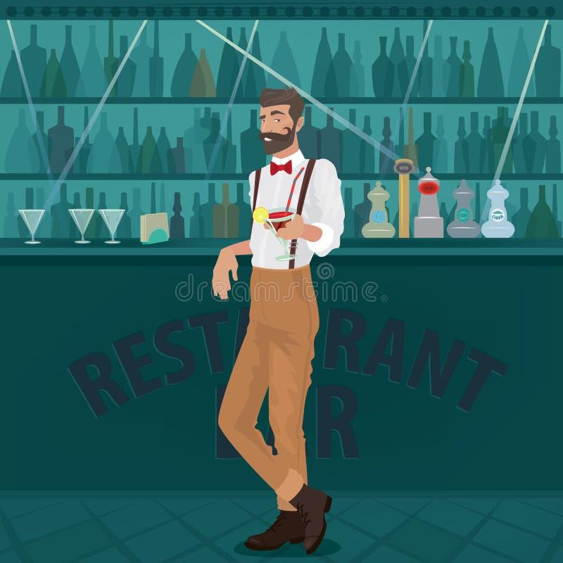 El inconformista del camarero ofrece el cóctel en la barra ilustración del vector
