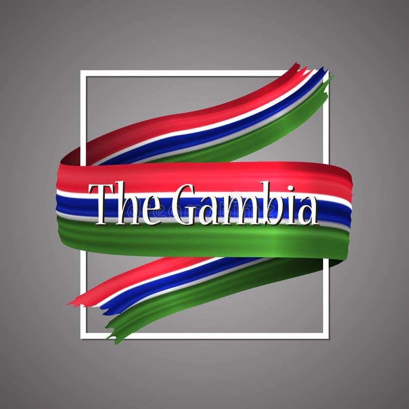 El indicador de Gambia Colores nacionales oficiales La cinta realista gambiana 3d Muestra patriótica de la raya de la bandera de  ilustración del vector