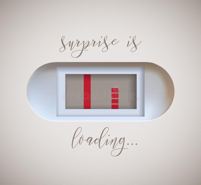 El indicador embarazada de la prueba con que aparece en segundo lugar la tira y la sorpresa está cargando el texto diseño de la i libre illustration