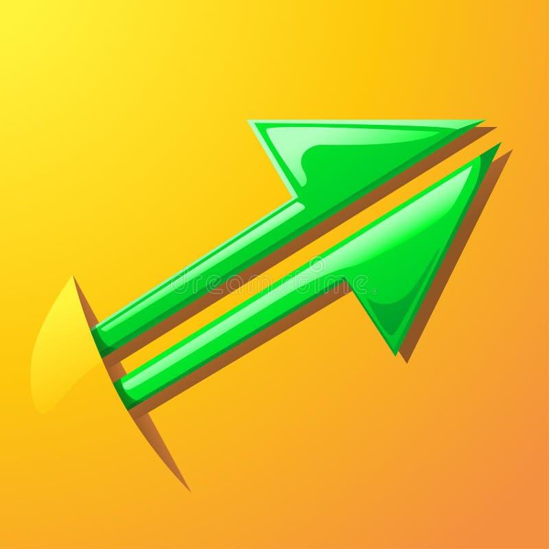 El indicador verde va para arriba del bolsillo ilustración del vector