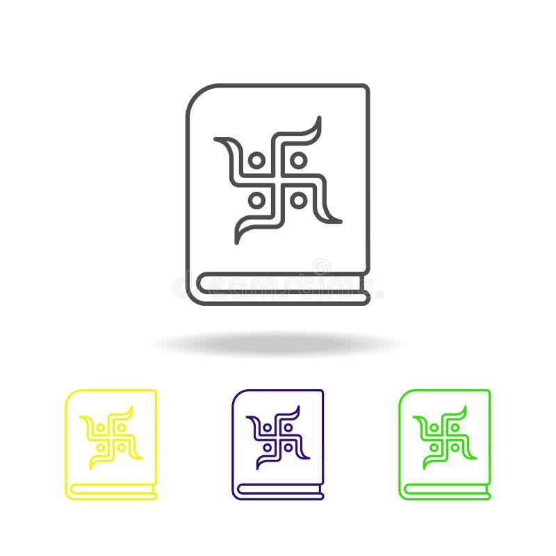 el indio Diwali de la cruz gamada del chopada del libro coloreó iconos en el fondo blanco Elementos indios de los días de fiesta  ilustración del vector