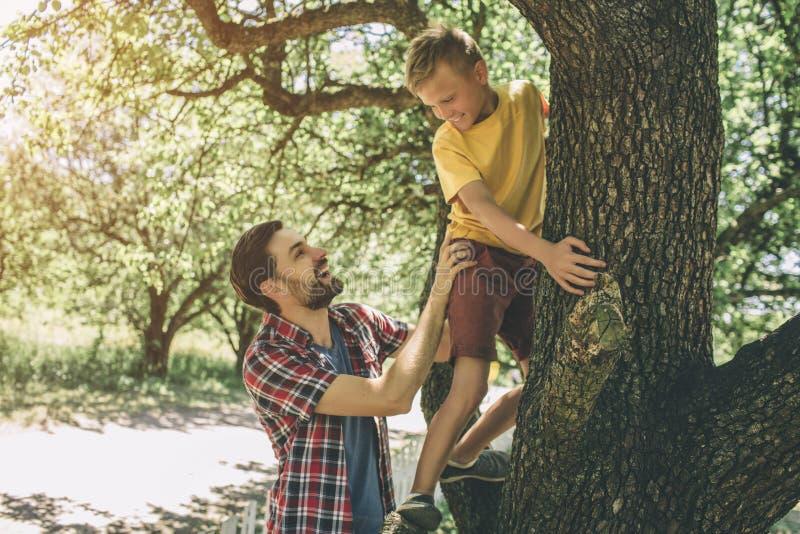 El individuo barbudo es árbol cercano derecho y apoyo de su hijo El muchacho está subiendo para arriba El niño ha puesto sus mano fotografía de archivo