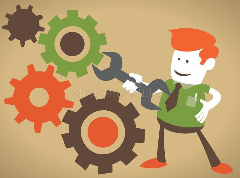 El individuo corporativo fija la máquina ilustración del vector