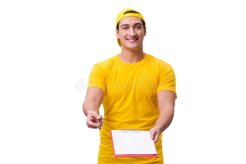 El individuo de la entrega aislado en el fondo blanco imágenes de archivo libres de regalías