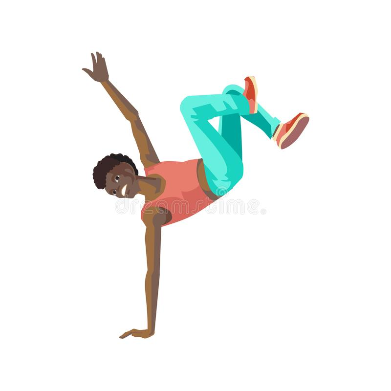 El individuo del baile, colocándose a mano, baila en danza de rotura del estilo stock de ilustración