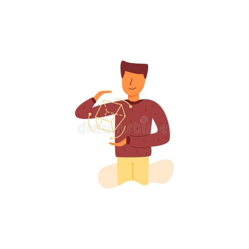 El individuo del diseñador controla el cubo 3D libre illustration