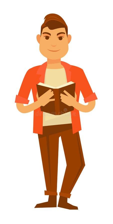 El individuo elegante joven en camisa anaranjada lee el libro libre illustration