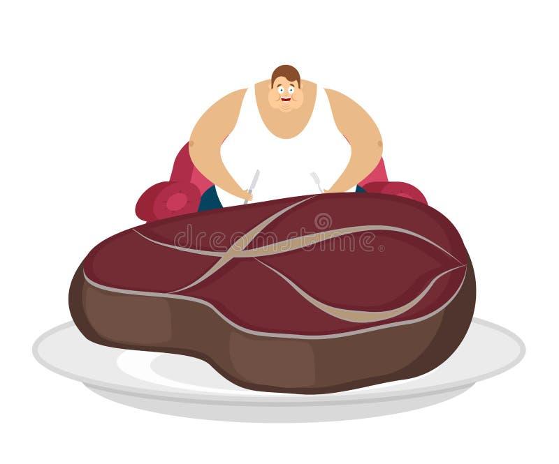 El individuo gordo se está sentando en silla y el filete Hombre y empanada gruesos del glotón libre illustration