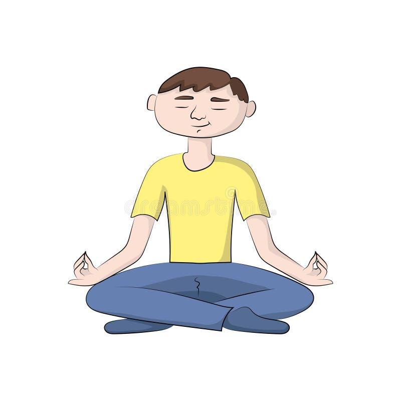 El individuo, hombre del muchacho se está sentando en una actitud de la yoga Ilustración de color del vector stock de ilustración